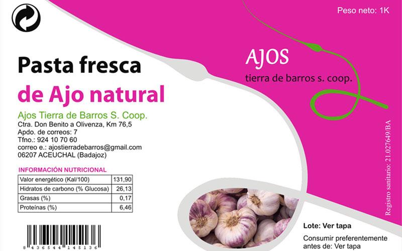 Etiqueta de bote de pasta de ajo